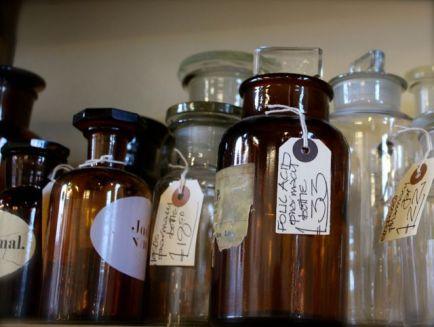 vintage apothecary bottles
