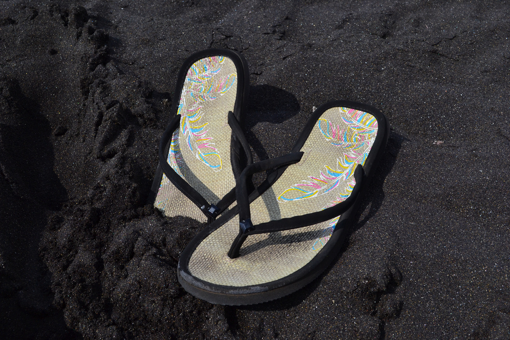sandals in black sand