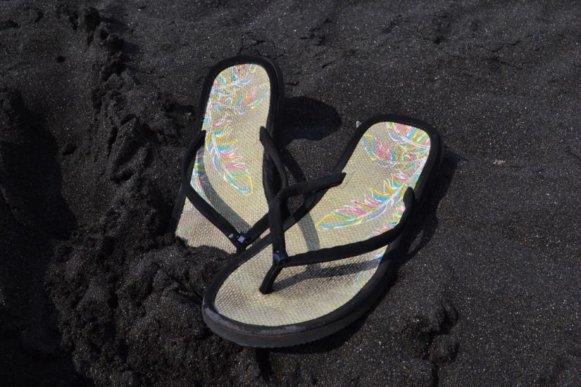 sandals in black sand
