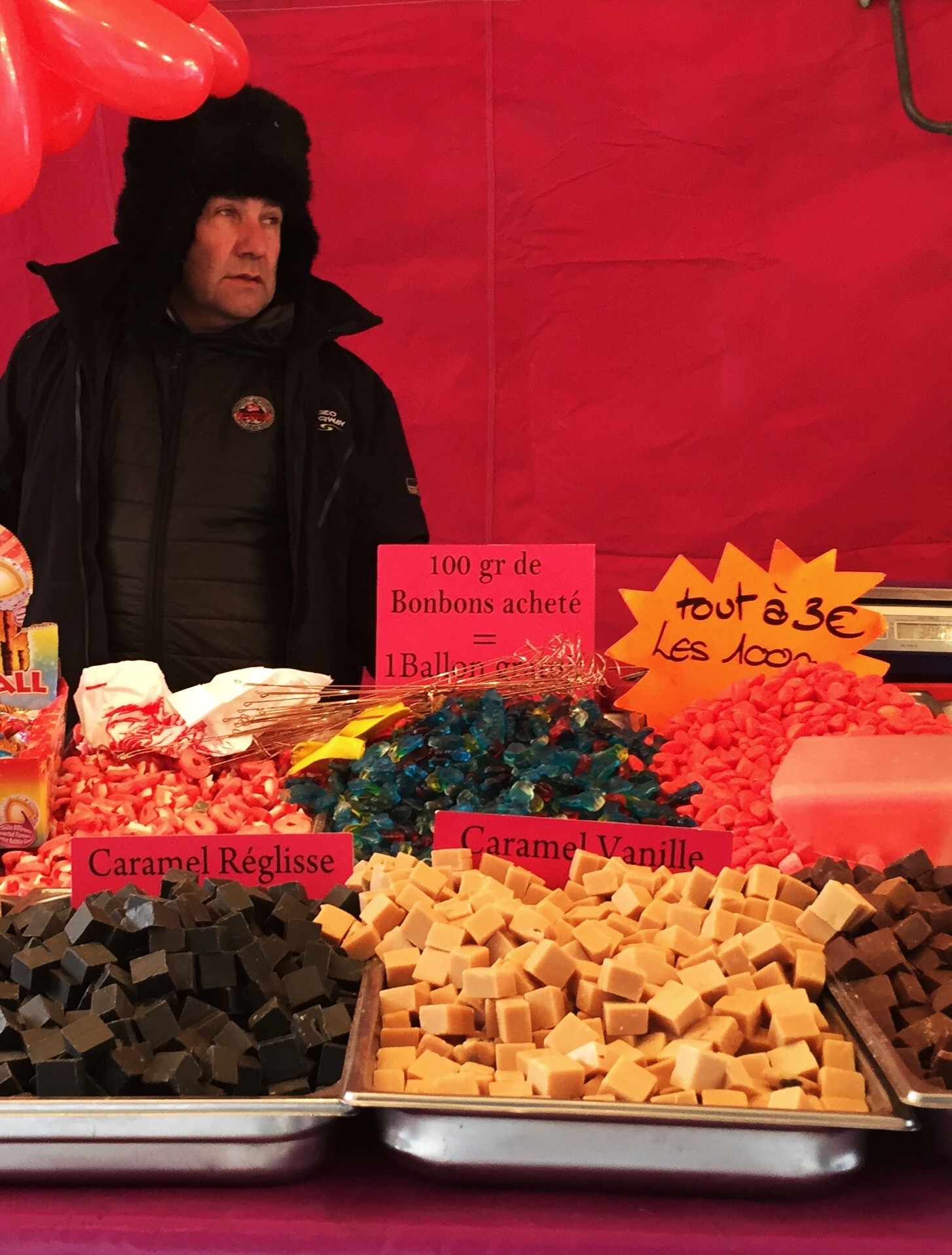 french market with bonbons