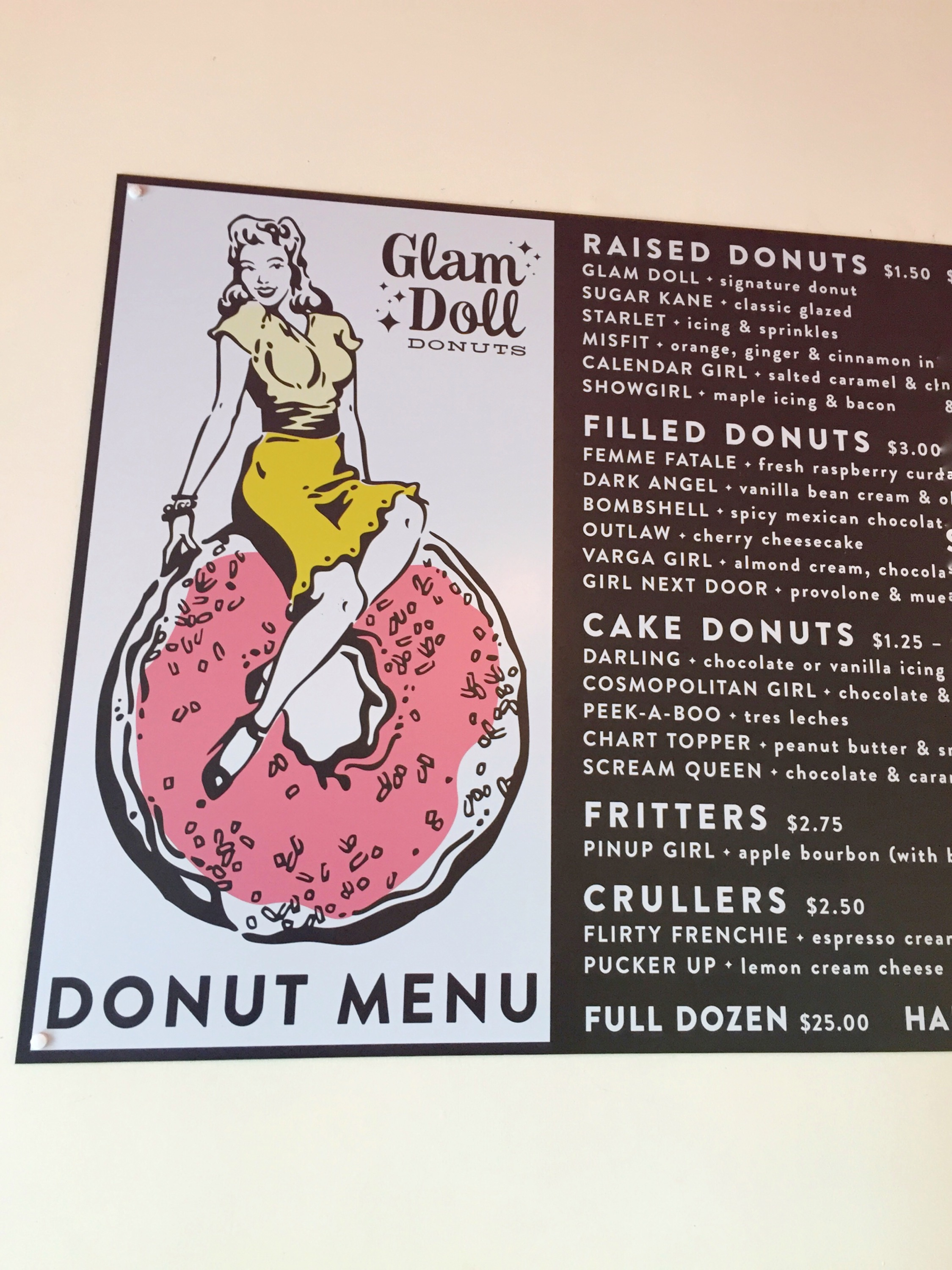Glam Doll donut menu