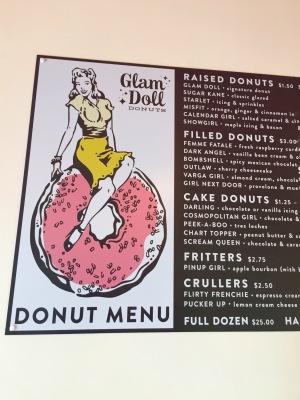 Glam Doll donut menu