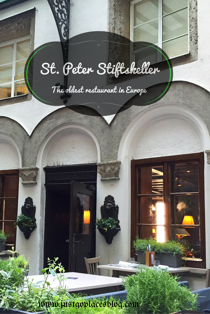 St. Peter Stiftskeller in old town Salzbury in Austria which is the oldest restaurant in Europe