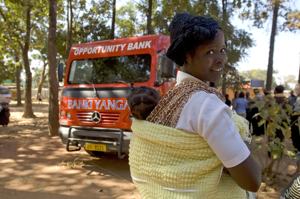 Mobile banking in a village in Malawi