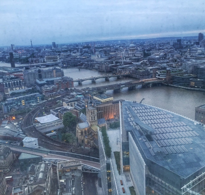view from Oblix at The Shard in London at dusk