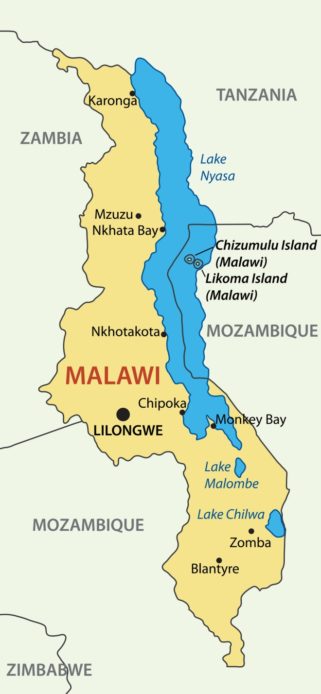 Map of the Republic of Malawi